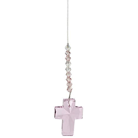 Image of Woodstock Chimes DDCRO Rainbow Makers Crystal Suncatcher, Cross - Rose