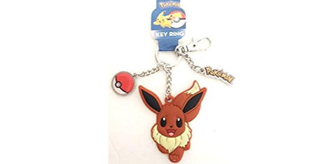 Pokemon Keychain with Rubber Eevee and Metal Pokeball Charm Key Chain Toy