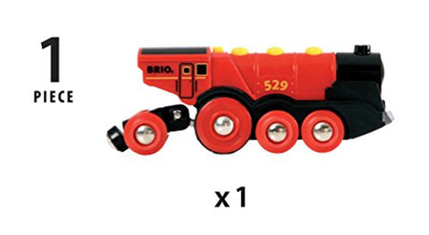 Image of Brio World 33592 Mighty Red Action Locomotive | Battery Operated Toy Train with Light and Sound Effects for Kids Age 3 and Up