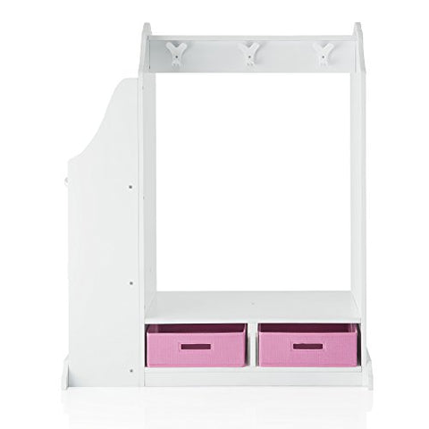 Guidecraft Dress Up Vanity  White: Dresser, Armoire with Storage Bins and Mirror for Kids, Toddlers Playroom Organizer, Children Furniture