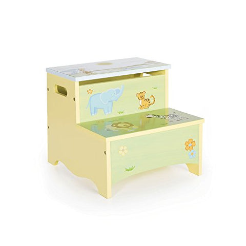Guidecraft Wooden Hand-painted Savanna Smiles Kid's Storage Step-Up, Safari Theme