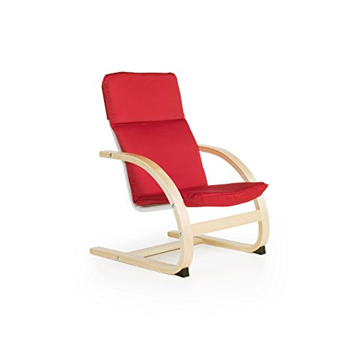 Guidecraft Nordic Rocker, Red Cushioned Chair Kids Furniture