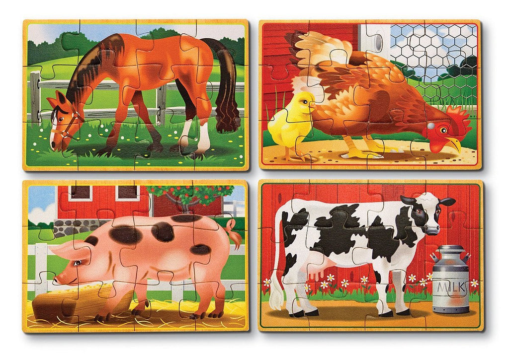 Melissa Doug Farm Animals Puzzles in a Box