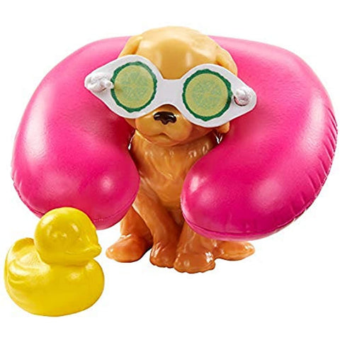 Image of Barbie Spa Doll, Blonde, with Puppy and 9 Accessories, Including Neck Pillow, Rubber Duck and Cucumber Eye Masks, Gift for Kids 3 to 7 Years Old