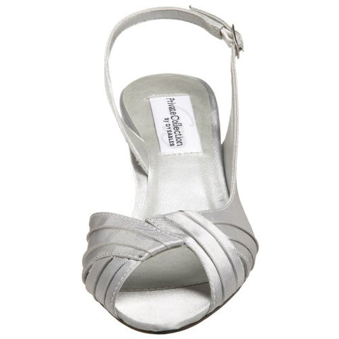 Dyeables Women's Nicky Sandal,Silver Satin,7.5 XW US