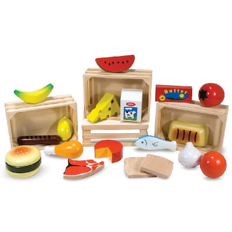 3 Item Bundle: Melissa and Doug 271 Food Groups and 4077 Pantry Wooden Play Food + Free Activity Book