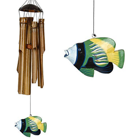 Image of Woodstock Chimes CTRO The Original Guaranteed Musically Tuned Chime Asli Arts Collection, Half Coconut Bamboo-Tropical Fish