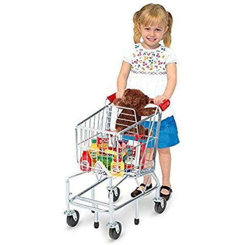 Melissa & Doug Bundle Includes 2 Items Toy Shopping Cart with Sturdy Metal Frame Let's Play House Grocery Cans Play Food Kitchen Accessory 10 Stackable Cans with Lids