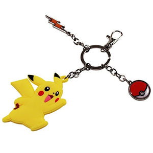 Pokemon Pikachu Rubber and Pokeball Thunder Metal Charm Keychain