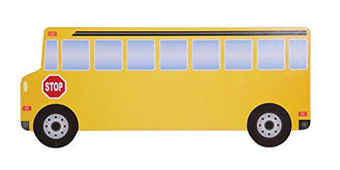 Guidecraft Classroom Wall Art School Bus - Kids Learning Wooden Educational Decorative Sign, Children's School Supply
