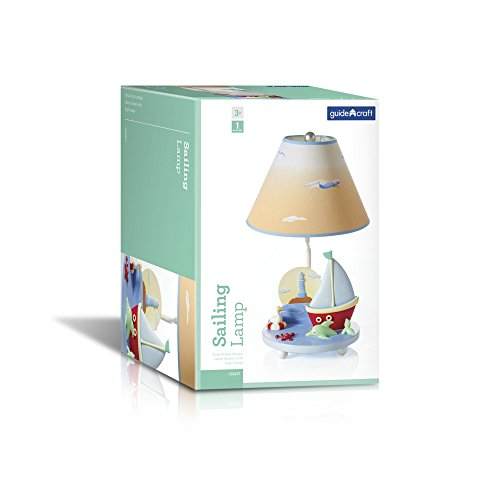 Guidecraft Hand-painted & Hand Crafted Sailing Kids Table Lamp G88207