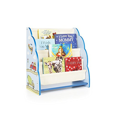 Guidecraft Hand-Painted Moving All Around Book Display - Themed Sling Bookshelf, Kids Furniture Book Rack