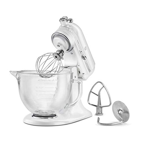 KitchenAid KSM155GBFP 5-Qt. Artisan Design Series with Glass Bowl - Frosted Pearl White