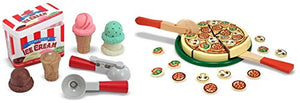 Melissa & Doug Pizza Party Wooden Play Food Set With 54 Toppings with Wooden Scoop and Serve Ice Cream Counter (28 pcs) - Play Food and Accessories