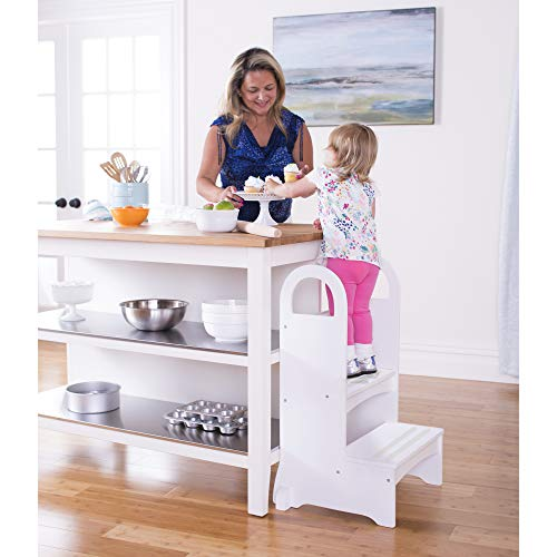 Guidecraft Kitchen Helper High-Rise Step-Up - White: Kids Step Stool with Handles - Quality Wood Learning Furniture for Children