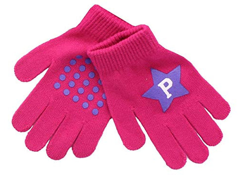 Image of Peppa Pig Super Star Girls Beanie Knit Pom Pom Hat Glove Set, Pink