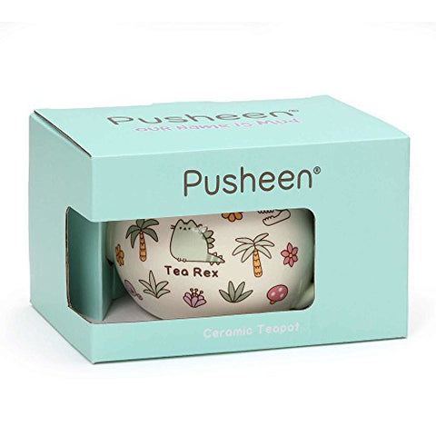 Pusheen by Our Name is Mud Pusheen Tea Rex Stoneware Teapot, 4.25 Inches