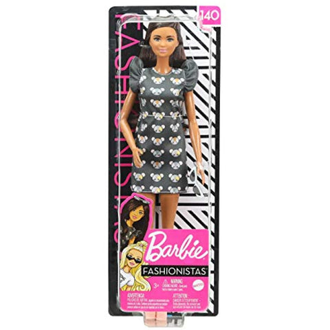 Barbie Fashionistas Doll with Long Brunette Hair Wearing Mouse-Print Dress, Pink Booties & Sunglasses, Toy for Kids 3 to 8 Years Old