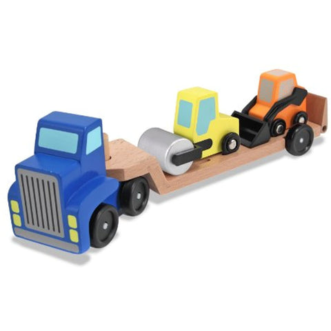 3 Item Bundle: Melissa and Doug 4550 Low Loader and 4577 Trailer Excavator Wooden Trucks + Activity Book