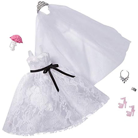 Image of Barbie Fashion Pack: Bridal Outfit Doll with Wedding Dress, Veil, Shoes, Necklace, Bracelet & Bouquet, Gift for Kids 3 to 8 Years Old