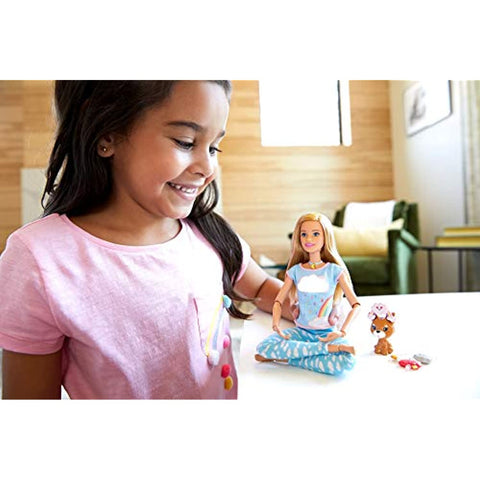 Barbie Breathe with Me Meditation Doll, Blonde, with 5 Lights & Guided Meditation Exercises, Puppy and 4 Emoji Accessories, Gift for Kids 3 to 8 Years Old