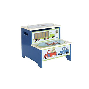 Guidecraft Hand-painted Moving All Around Step-Up, Themed Child's Step Stool with Storage