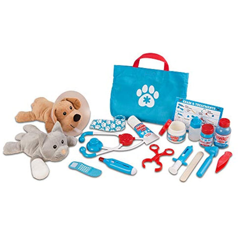 Melissa & Doug Animal Care Veterinarian & Groomer Wooden Activity Center (Best for 3, 4, 5 Year Olds and Up) & Examine & Treat Pet Vet Play Set (Kids Toy Best for 3, 4, 5 Year Olds and Up)