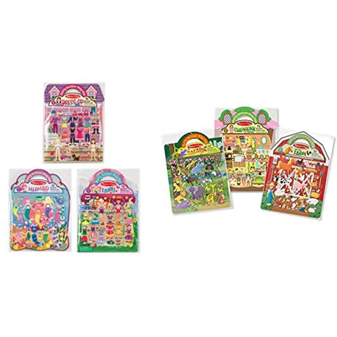 Image of Melissa & Doug Puffy Sticker Set 6-pack - Fairy/Dress-Up/Mermaid/Farm/Safari/Chipmunk