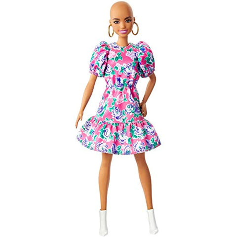 Barbie Fashionistas Doll with No-Hair Look Wearing Pink Floral Dress, White Booties & Earrings, Toy for Kids 3 to 8 Years Old, Multi
