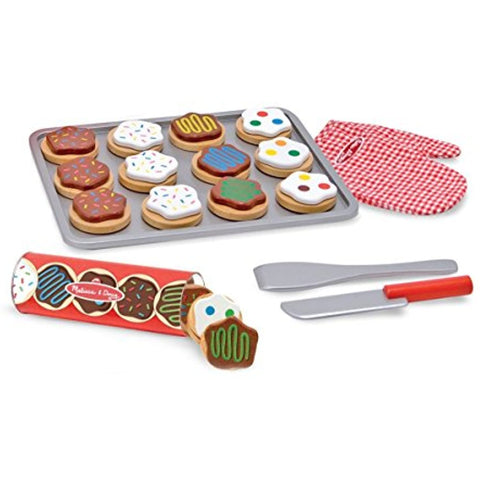 Melissa & Doug Slice and Bake Wooden Cookie Play Food Set Wooden Scoop and Serve Ice Cream Counter (28 pcs) - Play Food and Accessories