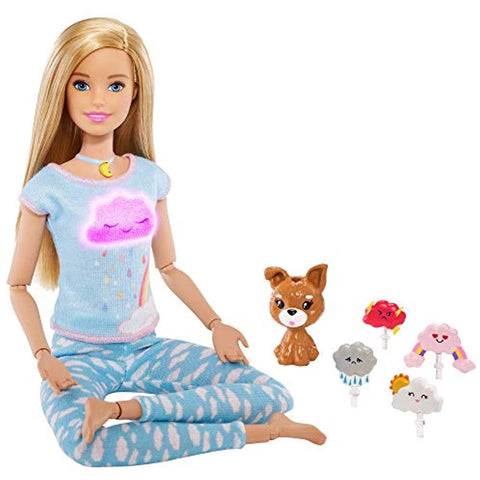 Image of Barbie Breathe with Me Meditation Doll, Blonde, with 5 Lights & Guided Meditation Exercises, Puppy and 4 Emoji Accessories, Gift for Kids 3 to 8 Years Old