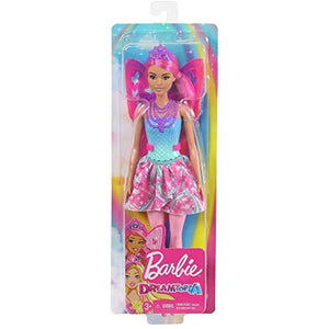 Barbie Dreamtopia Fairy Doll, 12-Inch, with Pink and Blue Jewel Theme, Pink Hair and Wings, Gift for 3 to 7 Year Olds, Multi