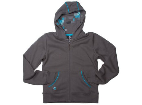 JINX Minecraft Big Boys' Diamond Premium Zip-Up Hoodie (Gray, X-Small)