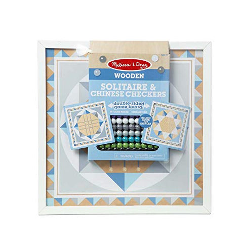 Image of Melissa & Doug Double-Sided Wooden Solitaire & Chinese Checkers Board Game (Blue) with 60 Game Pieces (17.5 W x 17.5 L x 1.5 D), Great Gift for Girls and Boys - Best for 6, 7, 8 Year Olds and Up