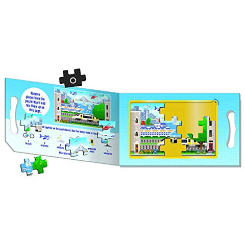Melissa & Doug Take-Along Magnetic Jigsaw Puzzles Travel Toy – Vehicles (2 15-Piece Puzzles)