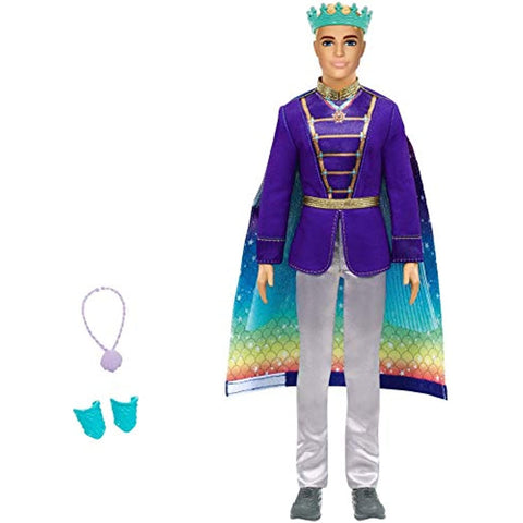 Image of Barbie Dreamtopia 2-in-1 Ken Doll (Blonde, 12-in) with Prince to Merman Fashion Transformation, with 2 Looks and Accessories, for 3 to 7 Year Olds