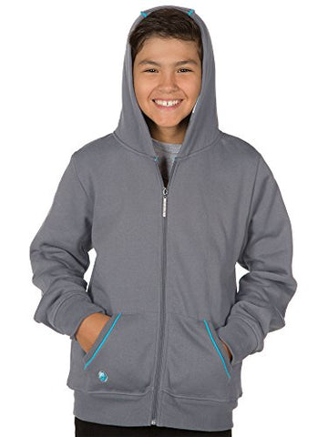 Image of JINX Minecraft Big Boys' Diamond Premium Zip-Up Hoodie (Gray, X-Small)