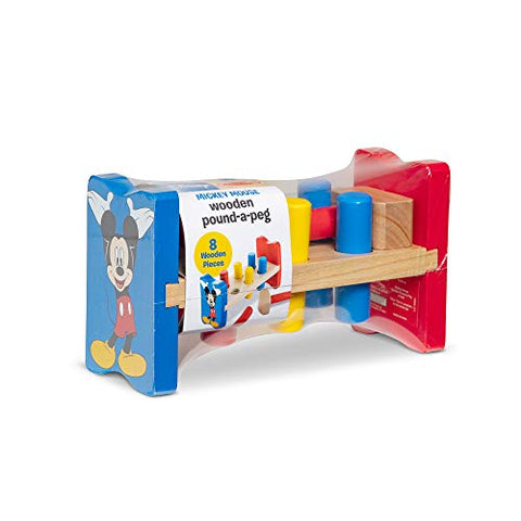 Image of Melissa & Doug Disney Mickey Mouse Clubhouse Wooden Pound-a-Peg Toy With 6 Pegs and 1 Mallet