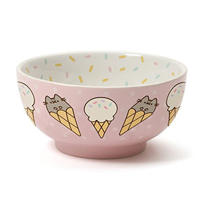 Pusheen by Our Name is Mud Stoneware Ice Cream Snack Bowl, Pink, 2.625""
