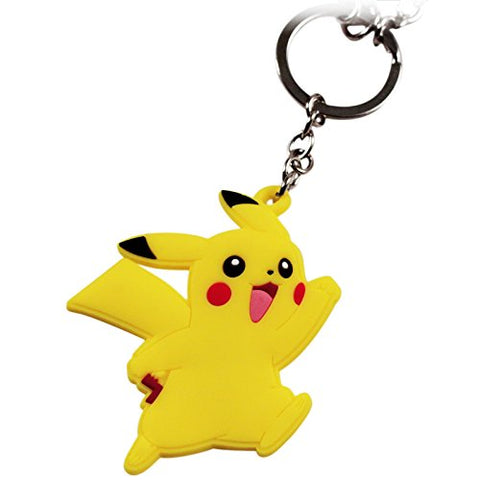 Image of Pokemon Pikachu Rubber and Pokeball Thunder Metal Charm Keychain