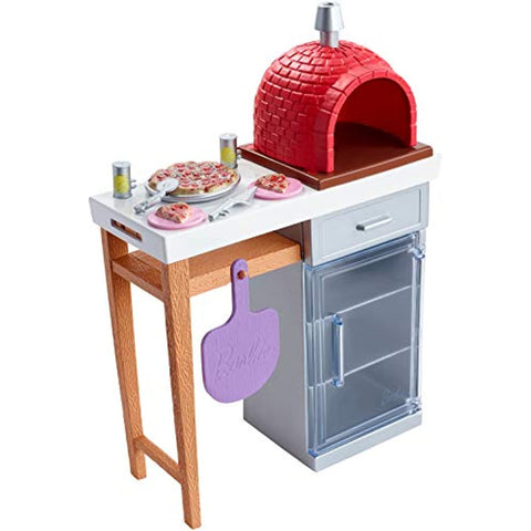 Image of Barbie Outdoor Furniture Set with Brick Pizza Oven, Plus Food and Serving Pieces