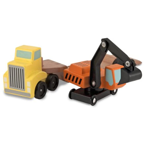 3 Item Bundle: Melissa and Doug 2758 Big Rig Building Set and 4577 Trailer & Excavator Truck + Activity Book