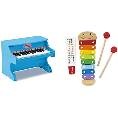 Melissa & Doug Learn-to-Play Piano, Blue & Caterpillar Xylophone, Musical Instruments, Rainbow-Colored, One Octave of Notes, Self-Storing Wooden Mallets, 18'' H x 6.2'' W x 2'' L