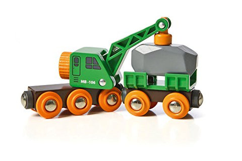 BRIO World - 33698 Clever Crane Wagon Set | 4 Piece Train Accessory and Crane Toy for Kids Ages 3 and Up,Red