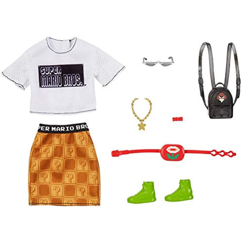 Image of Barbie Storytelling Fashion Pack of Doll Clothes Inspired by Super Mario: Graphic Tee, Patterned Skirt & 6 Accessories Dolls, Gift for 3 to 8 Year Olds