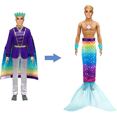 Barbie Dreamtopia 2-in-1 Ken Doll (Blonde, 12-in) with Prince to Merman Fashion Transformation, with 2 Looks and Accessories, for 3 to 7 Year Olds