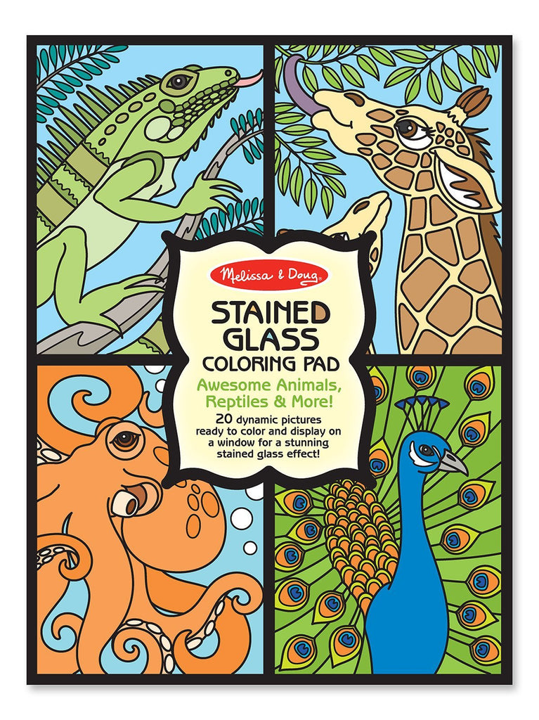Melissa Doug Stained Glass Coloring Pad - Animals