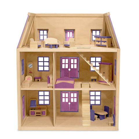 Image of Melissa Doug Multi-Level Wooden Dollhouse 4570