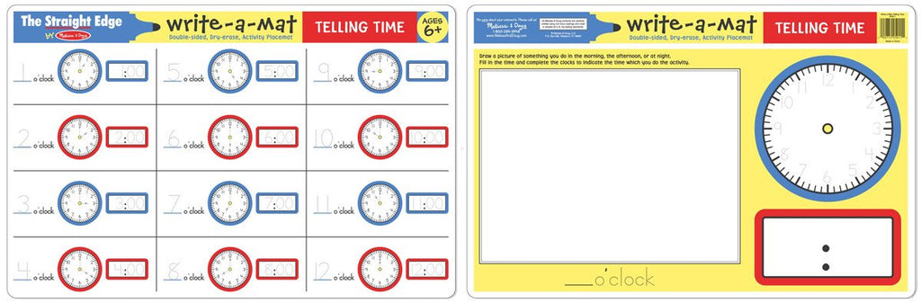 Melissa Doug Telling Time Write-A-Mat (Bundle of 6) 5036