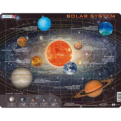 Larsen Puzzles Solar System Children's Educational Jigsaw Puzzle - 70 Piece Tray & Frame Style Puzzle - Exclusive Premium Hand Made Puzzles - Imported from Norway